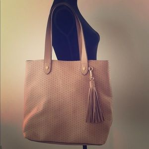 Faux leather beige purse with makeup bag